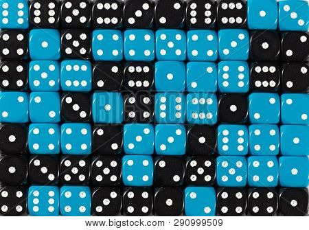 Pattern Background Of 70 Random Ordered Black And Blue Dices