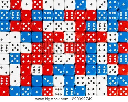Pattern Background Of Random Ordered Red, White And Blue Dices