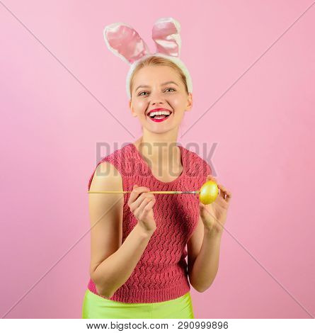 Smiling Lovely Woman Wears Bunny Ears On Easter Day. Happy Moments And Easter Celebration Concept. R