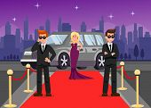 Bodyguards and Celebrity Cartoon Characters. Guardians protect Elegant Lady Flat Vector Illustration. VIP Guardians at work on Red Carpet Color drawing. Security Agency Armoured Vehicle poster