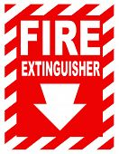 A fire extinguisher location sign for use in any safety inference. poster