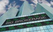Big Brokerage Trader Financial Firm Stock Ticker Buildings 3d Illustration poster