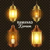 Ramadan Lamp Set Vector. Islam. Kareem Lamp. Lantern Design. Mubarak Night. Ramazan Greeting Design. Muslim Fanous, Fanoos. Islamic Season Invitation Banner Design Element. 3D Realistic Illustration poster