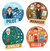 Profession, pilot and manager, jeweler and seller. Vector airplane and aviator, money and businessman, goldsmith and rings, saleswoman and cash counter. Occupation or vacancy, workers hiring poster