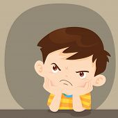 angry boy sitting disgruntled look on face.angry child sitting alone.bad mood children. poster