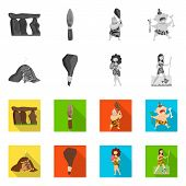 Isolated object of evolution  and prehistory icon. Collection of evolution  and development  vector icon for stock. poster