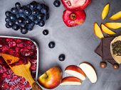 flavonoid, antioxidants, resveratrol rich food on grey concrete poster