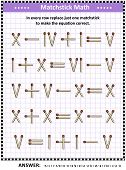 Math puzzle with roman numerals for adults and schoolchildren: In every row replace just one matchstick to make the equation correct. Answer included. poster