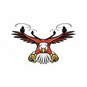 Mascot icon illustration of a half eagle half drone or quadcopter with four rotor propellers swooping down with talons facing viewed from front on isolated background in retro style. poster