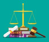 Law code books, justice scales and judge gavel. Law judgment punishment order justice. Wooden hammer. Legal and legislation authority. Vector illustration in flat style poster