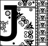 ornamental ABC, decorative letter J poster