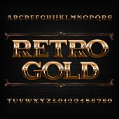Retro Gold alphabet font. Beveled ornate letters and numbers. Stock vector typescript for your design. poster