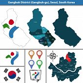 Vector map of Gangbuk District or Gu of Seoul metropolitan city in South Korea with flags and icons poster