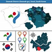 Vector map of Gwanak District or Gu of Seoul metropolitan city in South Korea with flags and icons poster