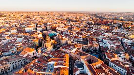 Aerial View Of Madrid La Latina District At Sunset. Architecture And Landmark Of Madrid. Cityscape O