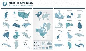 Vector Map Set.  High Detailed 23 Map Of North American Countries With Administrative Division And C