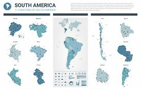 Vector Map Set.  High Detailed 11 Map Of South America Countries With Administrative Division And Ci