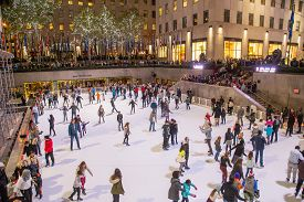 New York, United States Of America - November 19, 2016: People On The Ice Skating Rink At The Famous