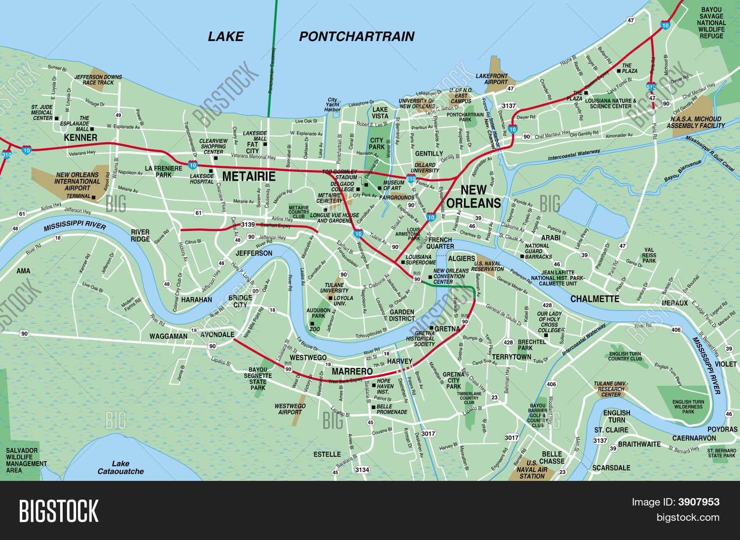 Map Of New Orleans Metro Area New Orleans Area Map   World Maps