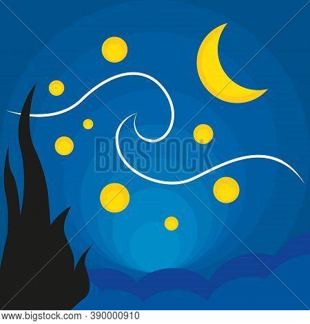 Starlight Night. Vincent Van Gogh. Abstract Art, Flat Vector Illustration