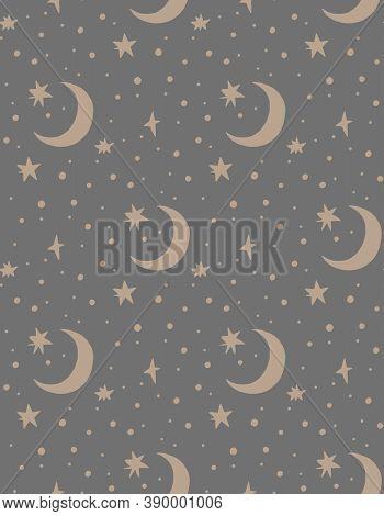 Hand Drawn Vector Seamless Pattern Illustration Of A Night Starry Sky. Scandinavian Style Flat Desig