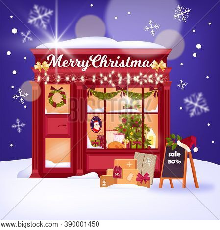 Christmas Shop Showcase Illustration With Chalkboard, Red X-mas Stall, Garland, Decorations. Winter