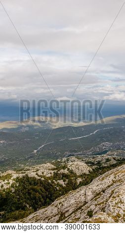 View From The Mountain Biokovo. Mountain Landscape With Low Clouds. 16 On 9. Croatia