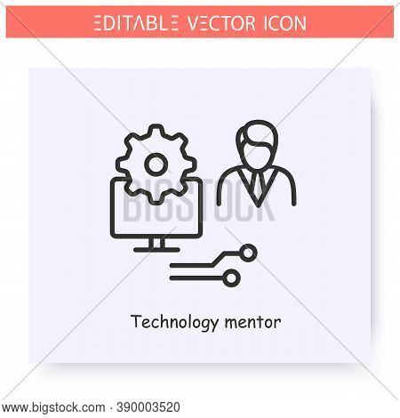 Technology Mentor Line Icon. Mentoring Software. Computer Engineer. Computer-aided Mentoring. Guidan