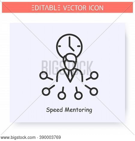 Speed Mentoring Line Icon. Express Training, Focused On Specific Questions. Guidance Consulting In B