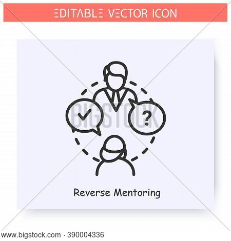 Reverse Mentoring Line Icon.mentee Gives Advice To A Mentor.job Interview.pupil Answered The Teacher