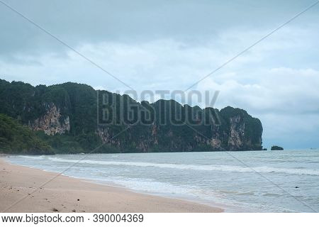 Sea At Ao Nang Beach During The Windy Overcast Day In The Low Season, Cloudy Sky Above Other Islands