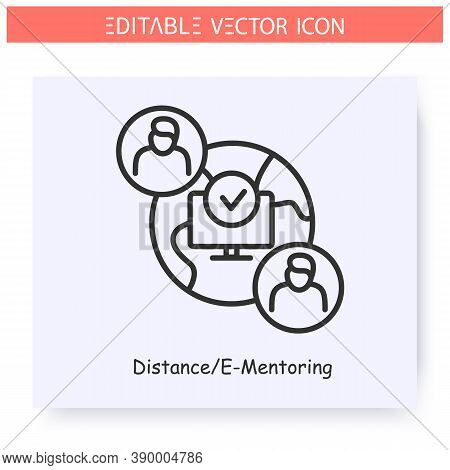 Distance Mentoring Line Icon. Online Mentoring. Remote Interview. Video Chat.online Conference. Guid