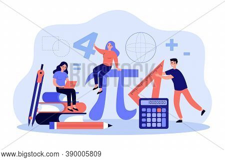 Tiny Students Learning Math In College Isolated Flat Vector Illustration. Cartoon Geometry Figures,