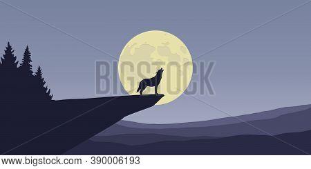 Wolf Howls At Full Moon Nature Landscape Vector Illustration Eps10