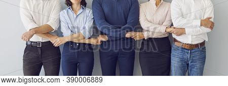Company Coworkers Holding Hands Ready To Guard Company Interests And Support Each Other