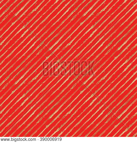 Abstract Grunge Seamless Pattern With Golden Glittering Acrylic Paint Diagonal Stripes On Red Backgr