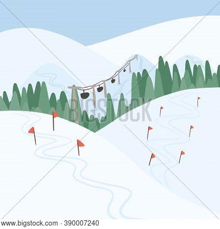 Winter Ski Resort Landscape Vector Flat Concept. Alps, Fir Trees, Ski Lift, Mountains Wide Panoramic
