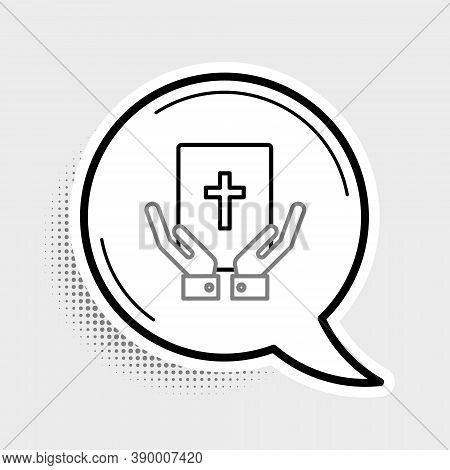Line Oath On The Holy Bible Icon Isolated On Grey Background. The Procedure In Court. Truth And Trut