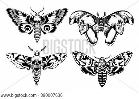 Moth With Skull Set. Scary Butterfly In Vintage Style, Monochrome Death Symbols Collection. Vector I