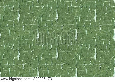 Green Weathered Poster. Antique Tree Structure. Distressed Paint Texture. Painted Shabby Wallpaper.