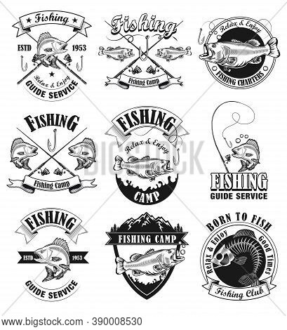 Fishing Camp Emblems Set. Fishers Club Monochrome Labels With Fish And Tackles. Isolated Vector Illu