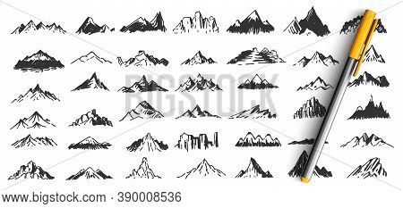 Hand Drawn Mountain Peaks Doodle Set. Collection Of Pencil Pen Ink Drawing Sketches Patterns Differe