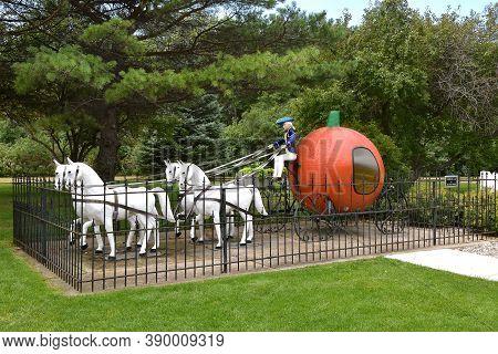 Aberdeen, South Dakota, August 7, 2020: Storybook Land Or Land Of Oz Features A Peter Peter Pumpkin