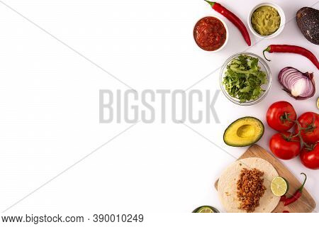 Mexican Tacos Ingredients Isolated On White Background. Copy Space