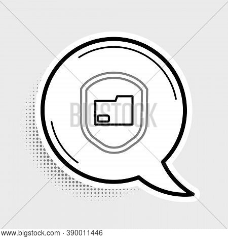 Line Document Folder Protection Concept Icon Isolated On Grey Background. Confidential Information A