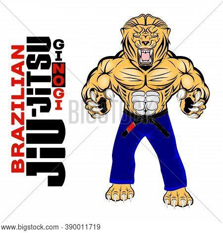 Lion Mascot For Brazilian Jiu-jitsu. Bjj. Gi And No Gi. Vector Illustrations For T Shirt Print. Laye