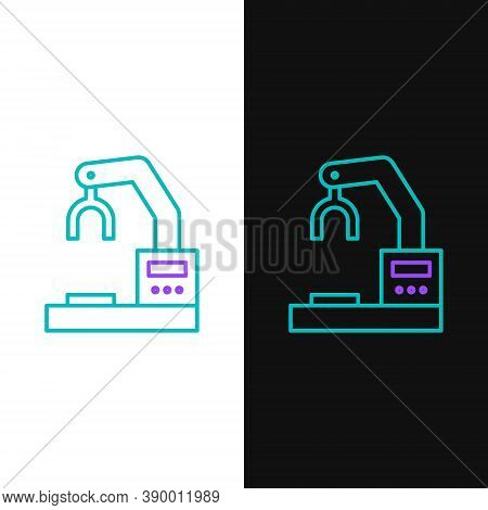 Line Industrial Machine Robotic Robot Arm Hand Factory Icon Isolated On White And Black Background.