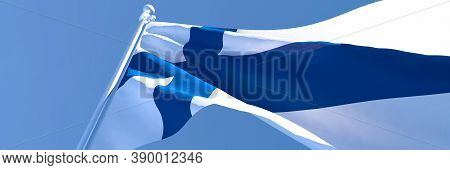 3d Rendering Of The National Flag Of Finland Waving In The Wind