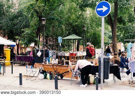 Madrid, Spain - 26 September 2020: Flea Market In Dos De Mayo Square In Malasana