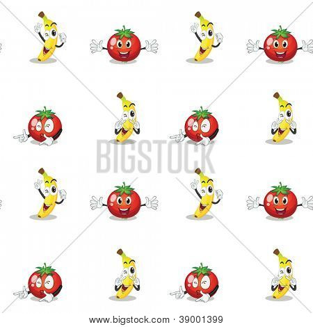 illustration of a banana and a tomato on a white background